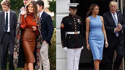 Phu nhân Tổng thống Mỹ - bà Melania Trump vẫn mặc đầm ôm sát bất chấp cả việc lộ nhược điểm vóc dáng
