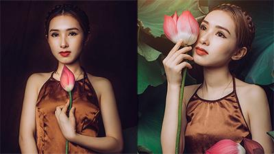 Bộ ảnh tuyệt đẹp 'Phi Nhung phiên bản thiếu nữ' diện áo yếm thả dáng bên hoa sen