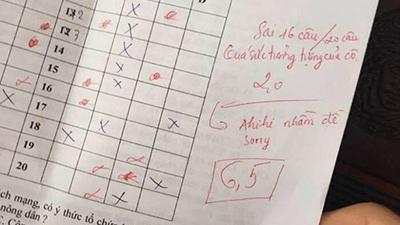 Cô giáo dạy Sử gây chú ý vì lời phê 'sorry' khi chấm nhầm điểm cho học trò từ 6,5 xuống 2
