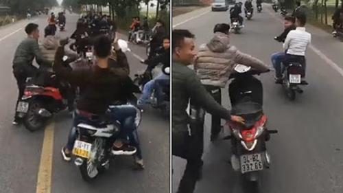 Công an vào cuộc điều tra nhóm thanh niên chạy xe máy dàn hàng lạng lách, chặn đầu xe chở tân binh