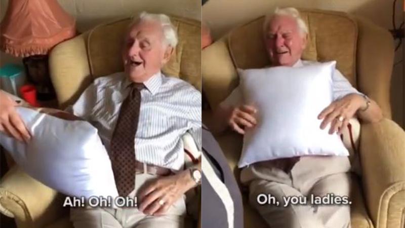 Clip cụ ông 94 tuổi bật khóc khi nhận được chiếc gối in hình vợ quá cố khiến CĐM xúc động, hút hơn 6 triệu lượt xem