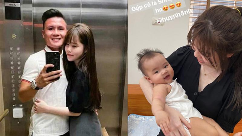 Quang Hải dẫn Huỳnh Anh về nhà chơi, khoe khéo bạn gái bế cháu giỏi