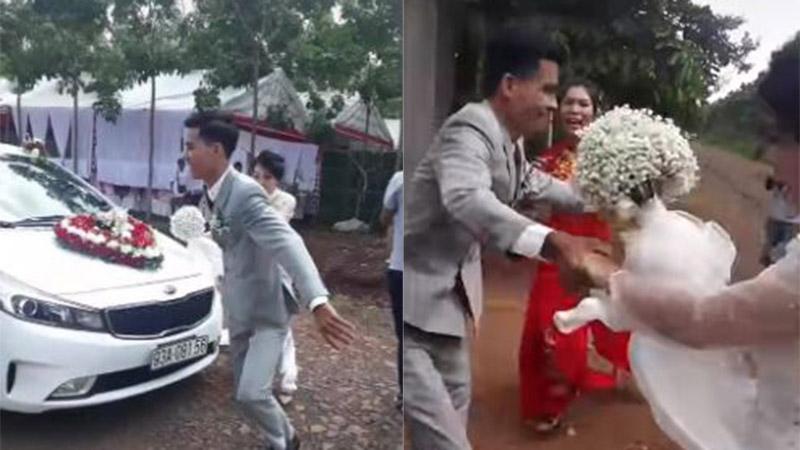 Clip: Mẹ chồng không cho con dâu đi cửa chính vì mang bầu trước, chú rể chạy nhanh, bế thẳng vợ vào nhà