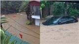 Mưa lớn cả đêm, thành phố Hà Giang chìm trong biển nước, nhiều ô tô ngập đến tận nóc