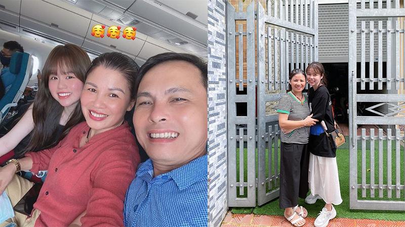 Huỳnh Anh 'hộ tống' bố mẹ Quang Hải đi máy bay, thân thiết chụp ảnh như người một nhà