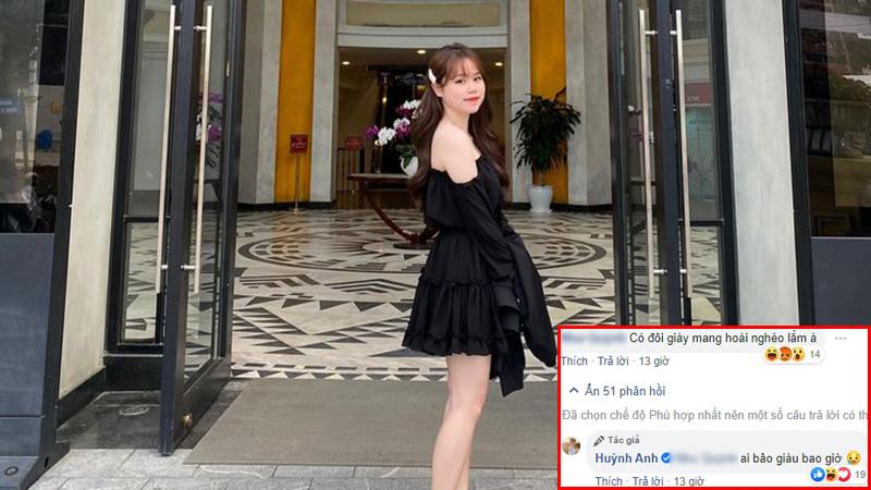 Lâu lâu đăng tấm ảnh thì y như rằng Huỳnh Anh lập tức bị soi mói nhan sắc, đến đôi giày cũng bị mang ra bàn tán