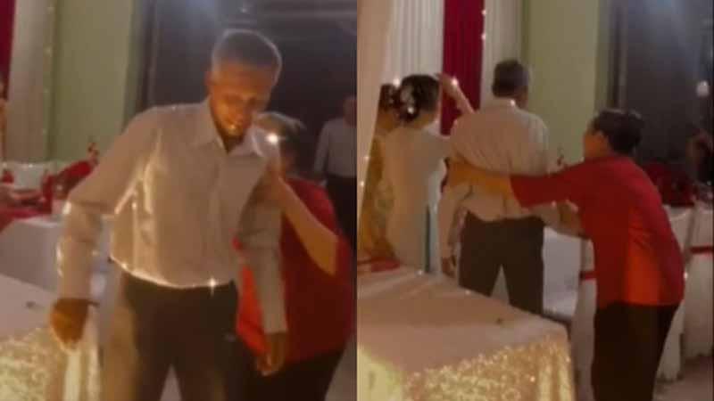 Người bố giàlén lau nước mắt, không dám chụp ảnh trong giây phút tiễn con gái đi lấy chồng gây xúc động