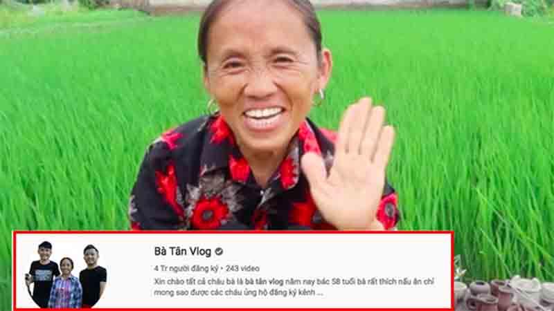 Chưa đầy 1,5 năm, bà Tân Vlog đạt 4 triệu lượt theo dõi, xác lập kỷ lục 'khủng'