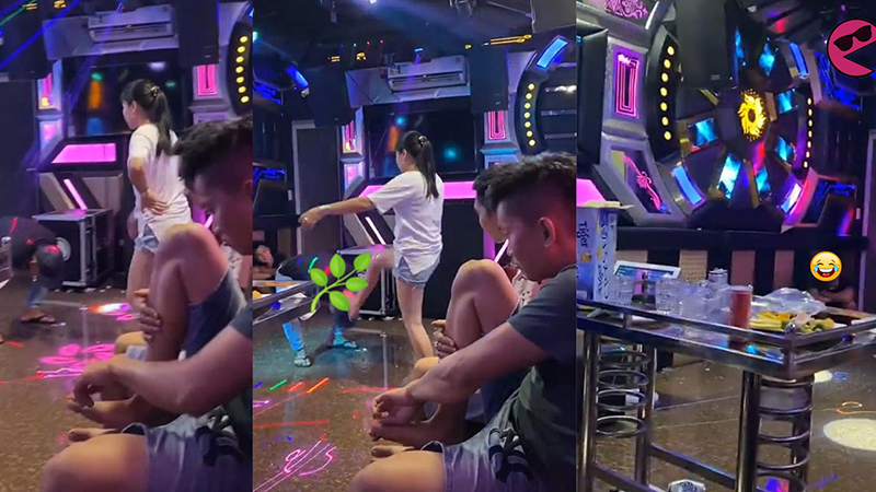Bắt quả tang đi karaoke 'tay vịn', vợ tung cước như trời giáng khiến chồng khoanh tay quỳ gối xin lỗi