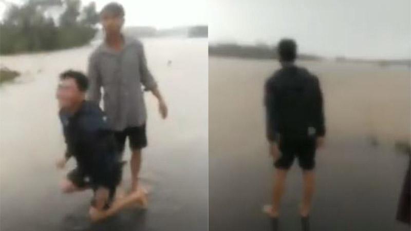 Clip: Vợ đi đẻ bị nước lũ cuốn trôi, chồng gào khóc thảm thiết
