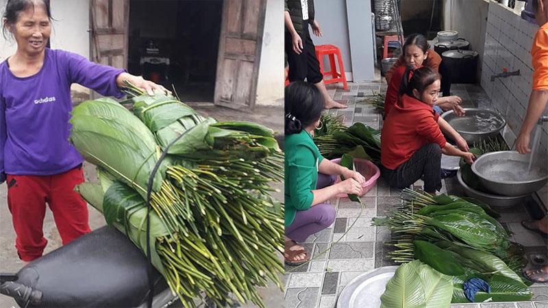 Hộ nghèo ở Nghệ An góp lá dong làm bánh chưng gửi dân vùng lũ