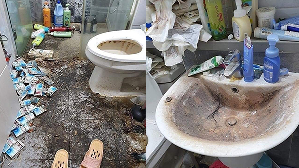 Phòng trọ rác chất đống, tàn thuốc đen sì nhà tắm, băng vệ sinh không thèm vứt đi của cô gái trẻ khiến chủ trọ 'hết hồn'