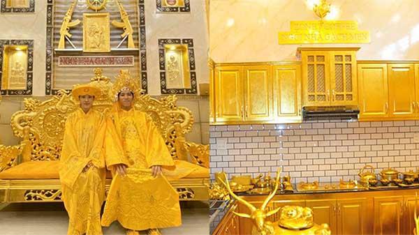 Choáng ngợp ngôi nhà dát vàng ở Cần Thơ: Có ngai vàng hóa thân thành vua chúa, nồi niêu xoong chảo đều được mạ vàng