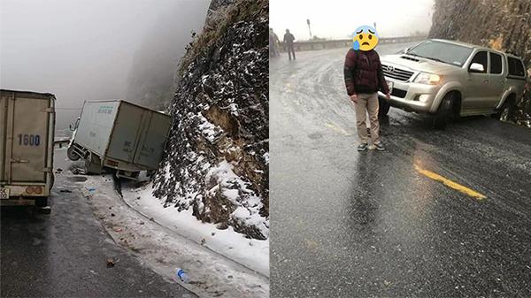 Cảnh báo đường lên Sapa tuyết phủ lấp và trơn trượt, tài xế cần vững tay lái để không gặp nguy hiểm