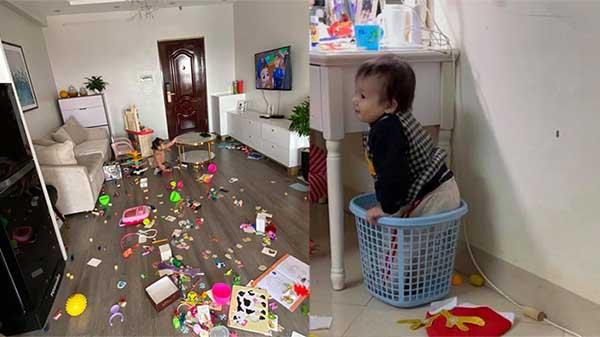 Mẹ trẻ 'giận tím mặt' khi con gái nghỉ ốm nhưng quậy tung nhà, vừa dọn dẹp được 1 tiếng đã bày ra như chiến trường