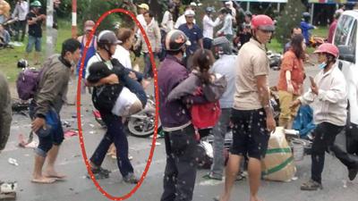 Xúc động trước câu chuyện anh xe ôm bỏ việc cứu người trong tai nạn thảm khốc ở Long An