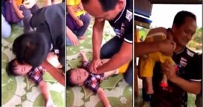 Xúc động người cha nỗ lực cứu con trai đuốinước từ tay 'tử thần'