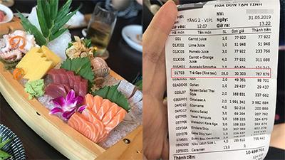 Phía nhà hàng lên tiếng vụ 'bẫy khách' ăn sushi hết 12 triệu, riêng trà đá đã hết hơn 1 triệu