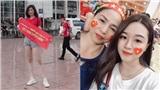 Em gái và người yêu các chiến binh áo đỏ check-in sân Mỹ Đình cổ vũ Việt Nam