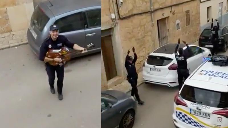 Cảnh sát Tây Ban Nha chơi nhạc trên phố động viên những người bị cách ly