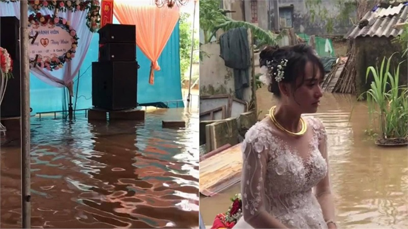 Đám cưới giữa mùa lũ ở Huế: Chủ nhà và quan khách ăn cỗ giữa biển nước mênh mông