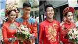 Duy Mạnh - Quỳnh Anh thay tới 2 bộ áo dài trong buổi sáng ăn hỏi, tất cả đều in hình rồng phượng cầu kỳ