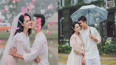 Quỳnh Anh e ấp bên Duy Mạnh trong bộ ảnh cưới giữa trời xuân, lối trang điểm nhẹ nhàng khiến cô nàng dễ thương bất ngờ