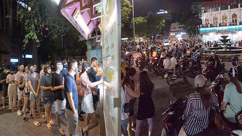 Người dân Hà Nội đổ xô lên hồ Hoàn Kiếm ăn kem tránh nóng, phố đi bộ tắc đường dù chưa được mở lại