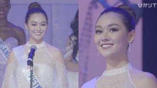 Hùng biện rất hay trong Top 8 Miss International nhưng Tường San vẫn có điểm trừ vì nhiều lần vấp từ
