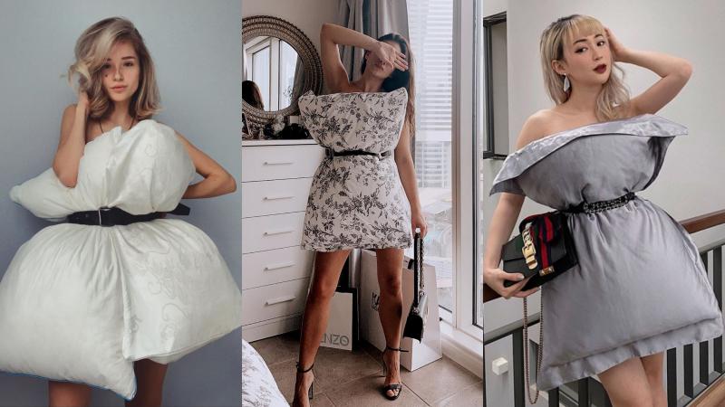 Trào lưu mới trên thế giới: Ở nhà chán quá, hội hot girl lấy gối làm váy