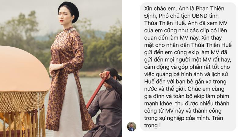 Hoà Minzy được Phó Chủ tịch UBND tỉnh Thừa Thiên Huế gửi lời cảm ơn khi đưa yếu tố lịch sử vào MV