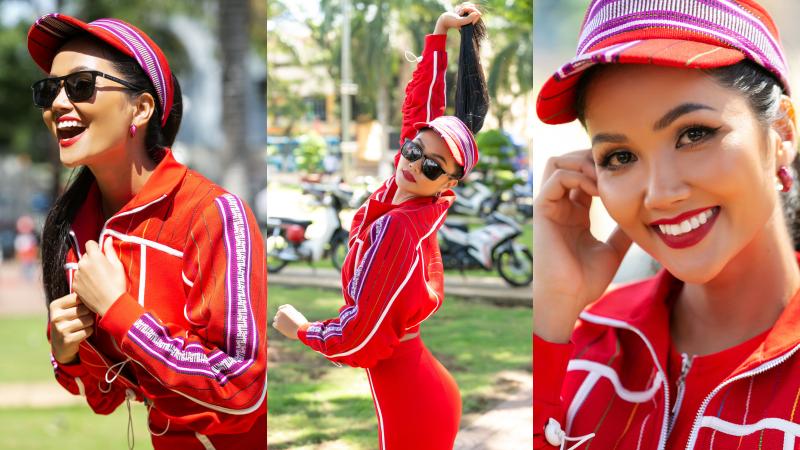 Hoa hậu H'Hen Niê biến tấu vải thổ cẩm Êđê thành trang phục sporty cực chất