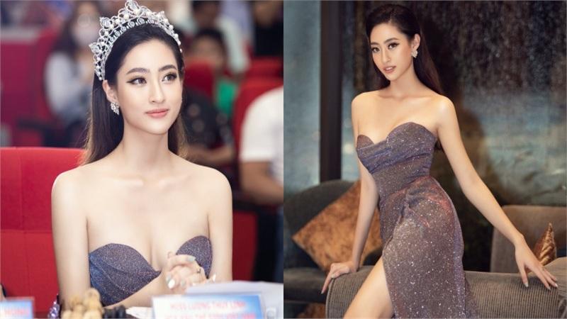 Hoa hậu Lương Thùy Linh 'o ép' vòng 1, đội vương miện 3 tỷ đi chấm thi Hoa khôi