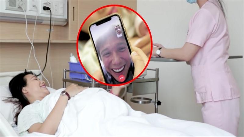 MC Hoàng Oanh chia sẻ khoảnh khắc con trai ra đời, Jack túc trực bên điện thoại động viên vợ 'vượt cạn'