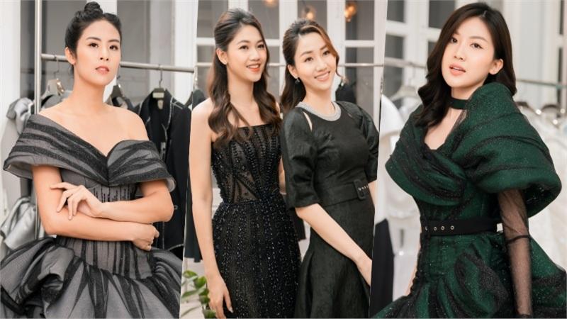 Hoa hậu Ngọc Hân, Á hậu Trà My - Thanh Tú và Lương Thanh mua váy của NTK Hà Duy để ủng hộ miền Trung