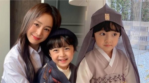 Con gái Kim Tae Hee hóa 'chàng rể nhỏ', xinh hơn cả nữ giới!