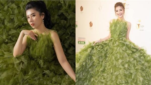 Dương Yến Nhung 'đụng hàng' Kiều Loan với váy xanh bồng bềnh