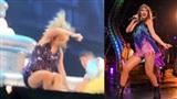 Taylor Swift ngã nhào trên sân khấu vì trời mưa
