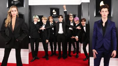 Thảm đỏ Grammy 2019: BTS khoe mỗi thành viên một màu tóc, Miley Cyrus quyến rũ 'hết cỡ'