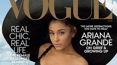 Ariana Grande lên bìa Vogue với chiếc mũ 'siêu to khổng lồ', thừa nhận vẫn còn đau buồn vì Mac Miller qua đời