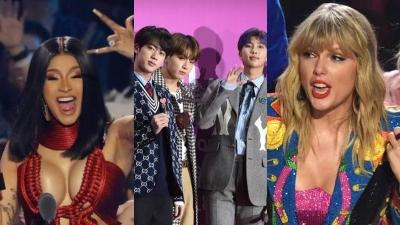 Ariana Grande, Taylor Swift, Cardi B, BTS... đều có cúp, giải thưởng VMAs năm nay chia đều cho 'cả làng'