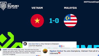 Cư dân mạng toàn thế giới gửi lời chúc mừng tới nhàvô địch mới của AFF Cup 2018