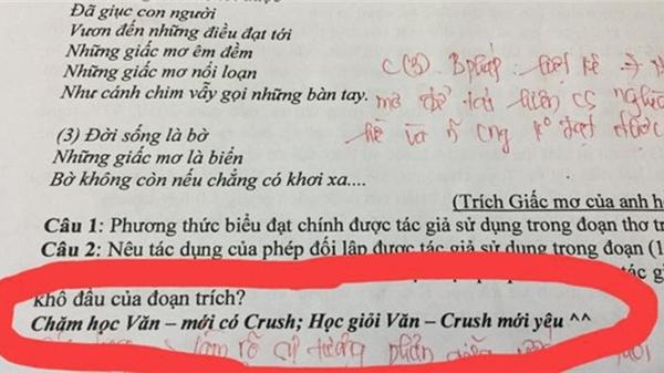 Để tạo động lực học Văn, cô giáo viết thêm lời nhắn vào đề thi khiến học trò quyết tâm cao độ