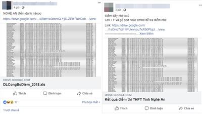 Rò rỉ kết quả thi THPT Quốc Gia tại Nghệ An, hàng loạt fanpage chia sẻ