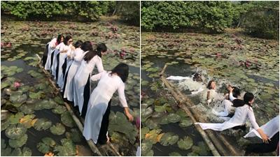 Ham hố chụp ảnh giữa hồ sen và cái kết cực 'đắng' cho các thiếu nữ áo dài