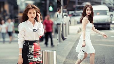 Ngọc Trinh ăn mặc giản dị vẫn 'nổi bần bật' giữa đường phố Singapore
