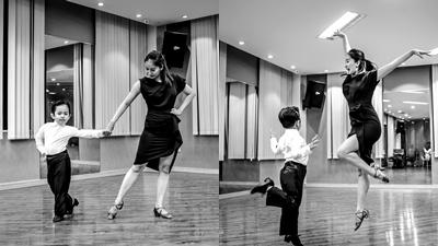 Mới 3 tuổi, con trai Khánh Thi đã lên đồ, tạo dáng chuyên nghiệp trong phòng tập như kiện tướng dancesport