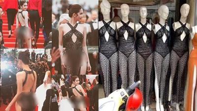 Gây tranh cãi là thế nhưng chiếc váy 'hở trước hở sau' của Ngọc Trinh vẫn có bản nhái bán tràn lan ngoài đường