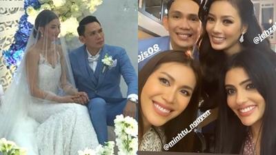 Minh Tú hội ngộ dàn người đẹp Hoa hậu Siêu quốc gia tại đám cưới của thí sinh Philippines từng mượn váy năm ngoái
