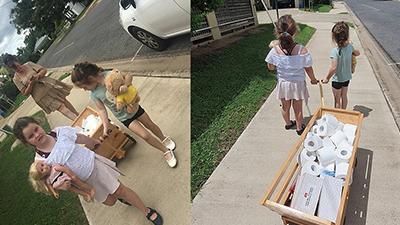 Hai cô bé dùng tiền tiết kiệm mua giấy vệ sinh miễn phí phát cho người già